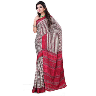 FineFab Cream  Red Crepe Daily Wear Printed Sarees With Blouse Piece