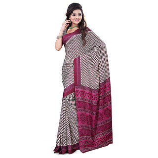 FineFab Cream  Dark Red Crepe Daily Wear Printed Sarees With Blouse Piece