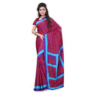 FineFab Red  Purple Crepe Daily Wear Printed Sarees With Blouse Piece