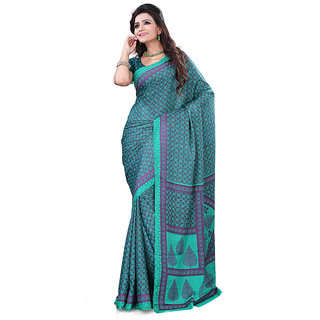FineFab Green Crepe Daily Wear Printed Sarees With Blouse Piece