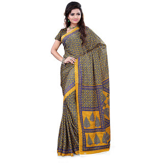 FineFab Yellow  Beige Crepe Daily Wear Printed Sarees With Blouse Piece