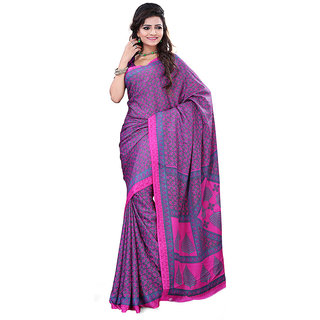 FineFab Pink Crepe Daily Wear Printed Sarees With Blouse Piece
