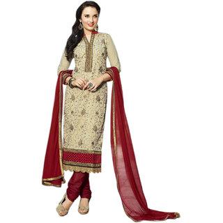 Surat Tex Grey  Red Color Designer Embroidered Cotton Semi-Stitched Salwar Suit-D121DL301KE