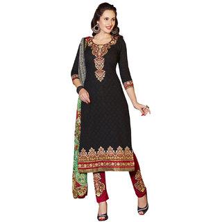 Surat Tex Black Color Designer Embroidered Cotton Jacquard Un-Stitched Dress Material-D604DL3455KE