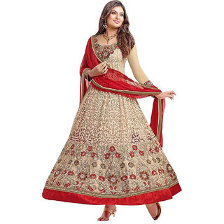 Surat Tex Cream Color Designer Embroidered Brasso  Silk Semi-Stitched Anarkali-F291DL2004SU