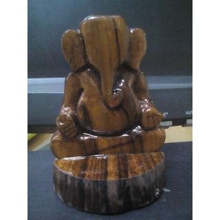 Janeu Brown Handicrafted Wooden Ganpati- Car Dashboard Idols