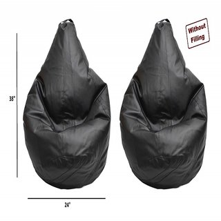 ZECADO Xl Black Tear Drop Bean Bag Covers Combo (Without Filling)