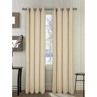 Rosara Langdale Cotton Beige Woven Eyelet curtain Set of 2