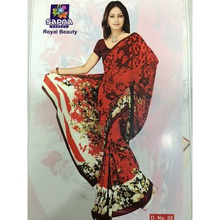 Georgette Royal Beauty Red coloured Printed Saree