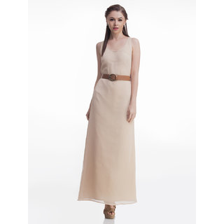 Beige Belted Maxi Dress
