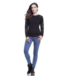 Black Raglan Sequins Sweatshirt