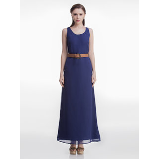 Navy Belted Maxi Dress