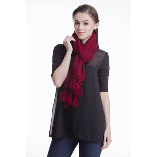 Maroon Knitted Chunky Scarf