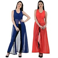 Raabta Fashion Blue,Red Plain Long Dress