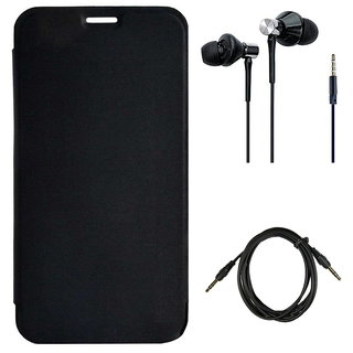 more photos 9376c c3e92 Flip cover for Micromax Yu Yu4711 With High Bass Dual Speaker Earphones Aux  Cable - Black