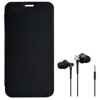 premium selection ecf61 c1349 Flip Cover for Infocus M370i With High Bass Dual Speaker Earphones - Black