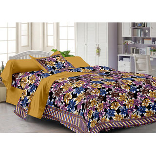 Queen Cotton Yellow 1 Single Bedsheet With 1 Pillow Cover (FY1106-QC)