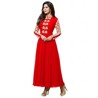 Bhavna creations red dress with beautiful thread work