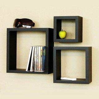 3 Squares Wooden Wall Shelves black by Desi Karigar
