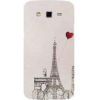 Casotec Paris Red Heart Design Hard Back Case Cover for Samsung Galaxy Grand 2 G7102 / G7105
