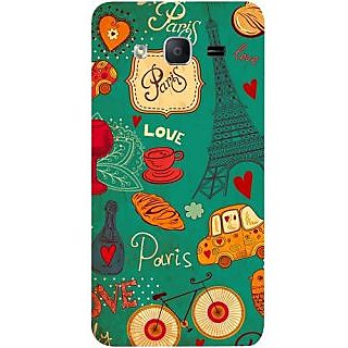 Casotec Paris Love Print Design Hard Back Case Cover for Samsung Galaxy On5