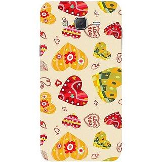 Casotec Cute Heart Pattern Print Design Hard Back Case Cover for Samsung Galaxy J7