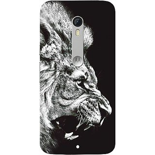 Casotec Angry Lion Design Hard Back Case Cover for Motorola Moto X Play
