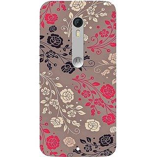 Casotec Floral Pattern Print Design Hard Back Case Cover for Motorola Moto X Style