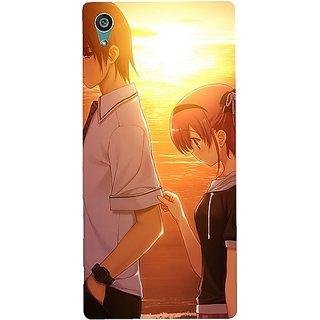 Casotec Girl Boy Sunset Sea Design Design Hard Back Case Cover for Sony Xperia Z5 Dual
