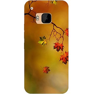 Casotec Colorful Leaves Print Design Design Hard Back Case Cover for HTC One M9