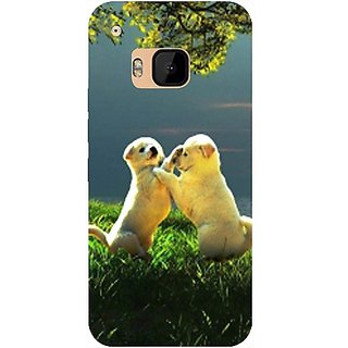 Casotec Puppy Couple Play Kids Nature Design Hard Back Case Cover for HTC One M9