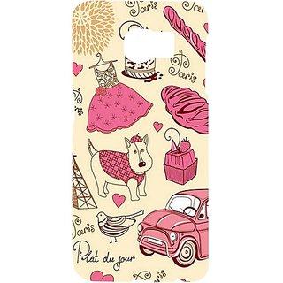 Casotec Paris Pattern Design Hard Back Case Cover for Samsung Galaxy S6 edge