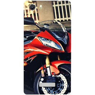 Casotec Red Motorcycle Design Hard Back Case Cover for Micromax Canvas Unite 3 Q372