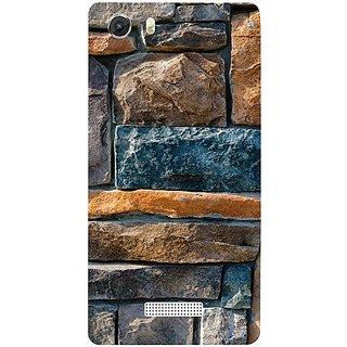 Casotec Decorative Stone Cladding Design Hard Back Case Cover for Micromax Canvas Unite 3 Q372
