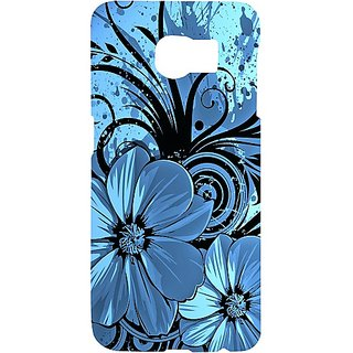 Casotec Cute Floral Blue Design Hard Back Case Cover for Samsung Galaxy S6 edge
