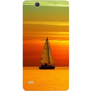 Casotec Sun Set Ship View Design Hard Back Case Cover for Sony Xperia C4