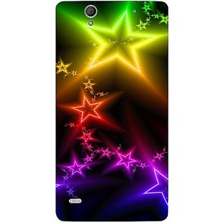 Casotec Stars Light Colorful Design Hard Back Case Cover for Sony Xperia C4