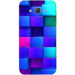 Casotec Blocks Rainbow 3D Graphics Design Hard Back Case Cover for Samsung Galaxy J5