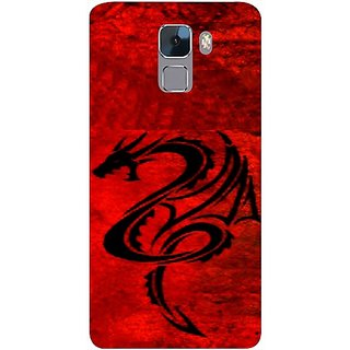 Casotec Dragon Pattern Red Black Design Hard Back Case Cover for Huawei Honor 7