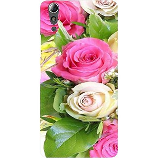 Casotec Rose Flowers Print Design Hard Back Case Cover for Lenovo A6000 / A6000 Plus