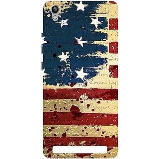 Casotec USA Flag Design Hard Back Case Cover for Intex Aqua Power Plus