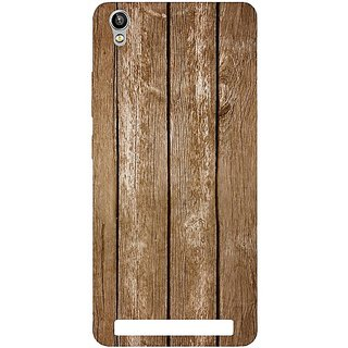 Casotec Wood Design Hard Back Case Cover for Intex Aqua Power Plus