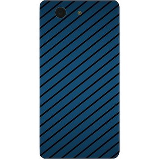 Casotec Blue Stripes Design Hard Back Case Cover for Sony Xperia Z3 Mini