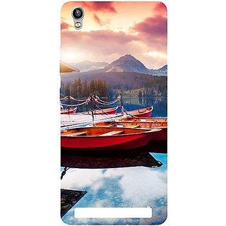 Casotec Sunset Sea Design Hard Back Case Cover for Intex Aqua Power Plus
