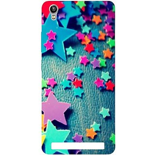 Casotec Colorful Stars Design Hard Back Case Cover for Intex Aqua Power Plus