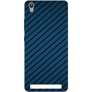 Casotec Blue Stripes Design Hard Back Case Cover for Intex Aqua Power Plus