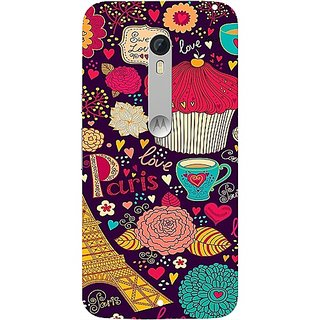 Casotec Paris Flower Love Design Hard Back Case Cover For Motorola Moto X Style