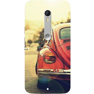 Casotec Vintage Car Pattern Design Hard Back Case Cover for Motorola Moto X Play