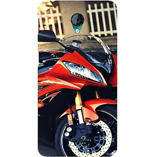 Casotec Red Motorcycle Design Hard Back Case Cover for Micromax Canvas Unite 2 A106