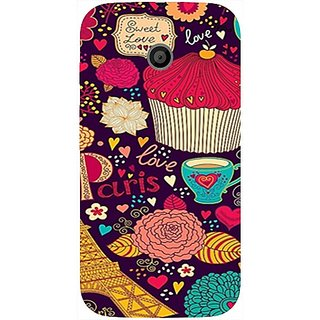 Casotec Paris Flower Love Design Hard Back Case Cover for Motorola Moto E 1st Generation